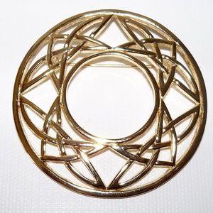 Carrick Scotland Celtic Knot Large Gold Brooch 2 5